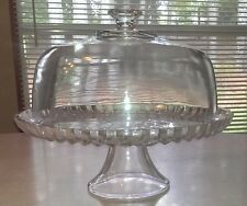 Clear Glass Cake Pedestal Stand~Swirl Diamond~Bakery Cupcakes Diner Display~NICE