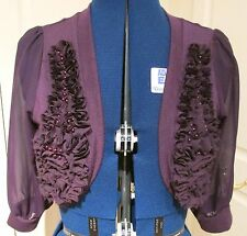 Beautiful rich aubergine embellished 3/4 length sleeve shrug size M/L by Tsega