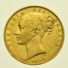 1863 SHIELD SOVEREIGN, BRITISH GOLD COIN FROM VICTORIA [DIE #2]