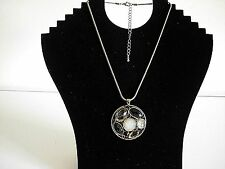 Fashion Amber & White Facet Bead Clustered Pendant Gold Tone Necklace