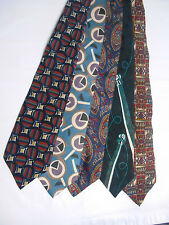 Five Mens Neck Ties Silk Jsaco Jesuis 417 Van Heusen Art String Music Unique