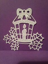 10 x White Christmas Candle, Lantern With Holly Die Cuts