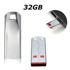 32GB USB 2.0 Flash Memory Stick Silver Keychain Pen Drive Storage Thumb U Disk