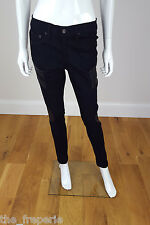 *RAG & BONE* THE HALIFAX LEATHER PANEL MOTORCROSS SKINNY JEANS W28 / L29