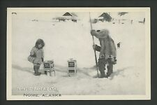 Alaska AK postcard Nome oil heater child dog ice photo-like printed