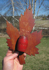 Early Hand Made Folk Art MATCH HOLDER Maple Leaf RARE!
