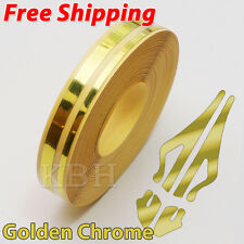 """12mm 1/2"""" Double Pin Striping Stripe Vinyl Tape Decal Sticker Car Gold Chrome"""