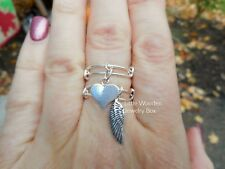 Sterling Silver Memorial ANGEL WING HEART Charm Expandable Stackable Wire Rings