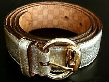 """AUTHENTIC """" GUCCI """" GOLDEN  LEATHER AND BUCKLE WOMAN BELT ITALY"""