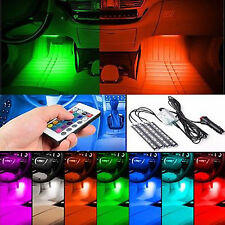 Car Atmosphere Light Lamp Interior Lighting 4x9LED Remote Control Beautiful RGB