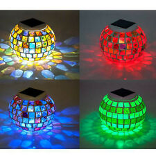Solar Power Garden Decor Mosaic Color Changing Yard LED Outdoor Landscape lights