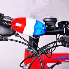 6 Bike Bicycle Police LED Light + 4 Loud Siren Sound Trumpet Cycling Horn BellHU