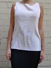 Chanel Boutique Ivory Silk Sleeveless Blouse Top M Womens