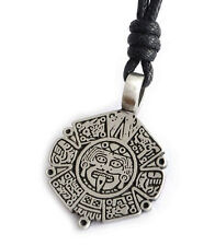 Aztec Mayan Face Calendar Silver Pewter Charm Necklace Pendant Jewelry