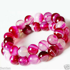 20Pcs New Natural Striped Agate Round Gemstone Loose Spacer Beads DIY 8mm