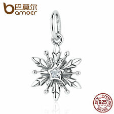 Bamoer S925 Sterling Silver Charm with Clear cz Frozen snowflake for bracelets