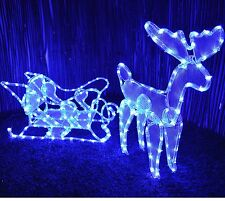 REINDEER & SLEIGH OUTDOOR CHRISTMAS ILLUMINATED ROPE LIGHT BLUE DECORATION XMAS
