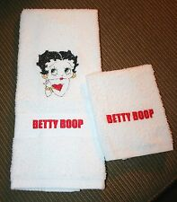 Betty Boop Colorful Bust on White Hand Towel & 1 wash cloth machine embroidered