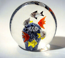 MURANO GLASS AQUARIUM FISH CORAL REEF PAPERWEIGHT BUBBLES INSIDE