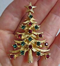Vintage 60s Signed MYLU Christmas Tree Pin Brooch Gold Tone Red Green BOOK PIECE