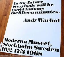 "ANDY WARHOL ""FAMOUS FOR FIFTEEN MINUTES"" SWEDEN GALLERY POSTER HUGE EX+ RARE"