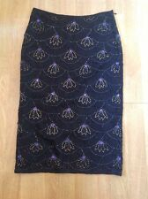 STUNNING PRESS & BASTYAN BLACK LACEY BEADED PENCIL SKIRT UK SIZE 8 WORN BARELY