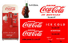 SET STICKER  COCA-COLA ice cold-VENDING MACHINE-VIEUX DISTRIBUTEUR AUTOMATIQUE
