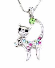 NEW KITTY CAT MULTI-COLOR CRYSTAL SILVER CHARM PENDANT 17 INCH NECKLACE