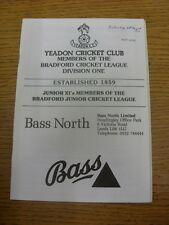 24/08/1991 Cricket Programme: Yeadon v Spen Victoria (date noted on front).  Tha