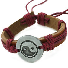 Brown Leather Yin Yang Bracelet with Red Hemp Rope - Taoism Taoist Tai Chi
