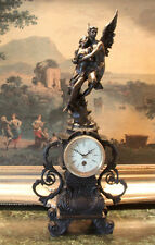 Mantel Empire Shelf  Bronze Clock Cupid Psyche Lovers Works Key Collectible Art
