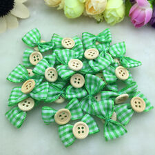 New 10Pcs Lace Satin Ribbon Webbing BOW Appliques/Craft/Wedding Decoration Green