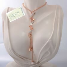 18K Gold Plated Long Necklace Snake Pendant Swarovski Crystals Gift Mum Wife Box