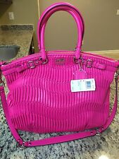 COACH NWT 18643 Madison Lindsey Gathered Leather HOt PINK Satchel Bag Purse