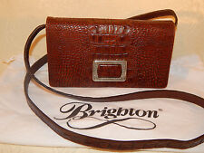 VINTAGE BRIGHTON BROWN CROCO LEATHER CROSSBODY BAG WITH ORGANIZER INSIDE