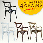 PACKAGE DEAL 4x Cross Back Rattan Seat Timber Carver Dining Chair, French Dining