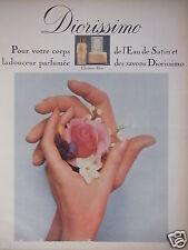 PUBLICITÉ 1968 DIOR DIORISSIMO L'EAU DE SATIN PARFUMÉE ET SAVONS - ADVERTISING