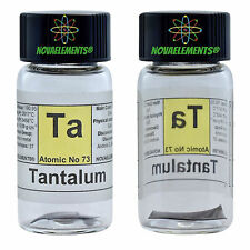 Tantalum metal element 73 Ta sample sheet 99,99% 1,5cm shiny glass vial + label