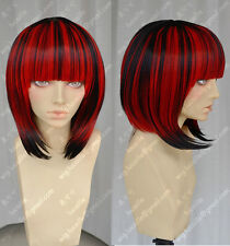 Women Fashion Cos Black and Red mixed Short Straight Cosplay Wig Halloween Party