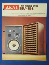 AKAI SW-156 SPEAKERS SALES BROCHURE ORIGINAL FACTORY ISSUE THE REAL THING