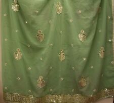 Vintage Peppermint Green Dupatta Indian Scarf Embroidered Sarong Veil Stol Hijab