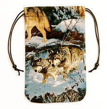 "Gray Wolf Pack Tarot Bag Lycan Gift Bag 5""x7"" Drawstring Pouch Runes Dice"