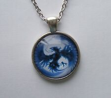 PS11 - Necklace - BLUE PHOENIX - Silver Plated Glass Domed PENDANT with chain