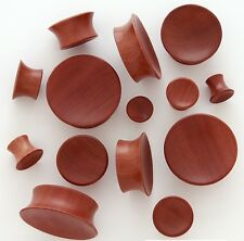 1 Pair 0g 8mm Red Saba Natural Organic Wood Concave Single Flare Ear Plugs 903