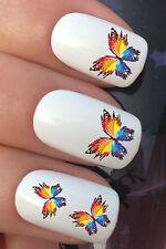 Nail Art Set # 372 X24 Brillante Colorida Mariposa de transferencia de agua Calcomanías Stickers