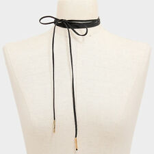 "Choker Necklace Long Faux Suede Tie On Wrap Around 50"" BLACK GOLD Trendy Jewelry"