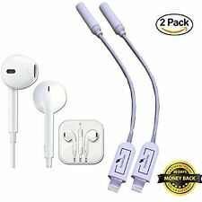 2-Pack: iPhone 7, 7 Plus Earpods with Lightning to Jack adapter Headphone Earbud