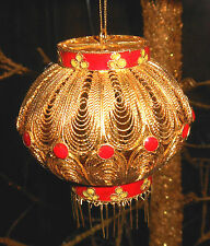 """Vintage Chinese lantern inspired Gold tone WIRE Ornament  with RED ENAMEL 3"""""""