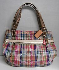 Coach Poppy Pink Signature Glam Madras Tote Shoppers Bag B1294-19611 w/ Dust Bag
