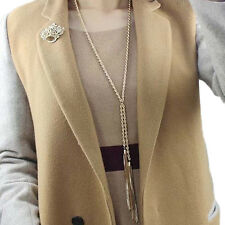 Women's Gold Pleated Tassel Pendant Long Chain Sweater Necklace Jewelry Steady